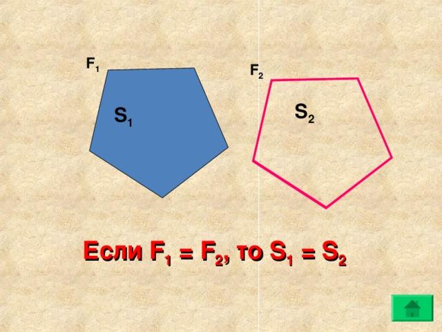 F 1 F 2 S 2 S 1 Если F 1 = F 2 , то S 1 = S 2