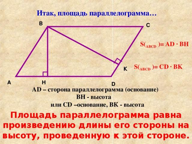 Итак, площадь параллелограмма… B C S ( АВС D  ) = AD · BH S ( АВС D  ) = CD · BK К H A D AD – сторона параллелограмма (основание) ВН - высота или CD –основание, ВК - высота Площадь параллелограмма равна произведению длины его стороны на высоту, проведенную к этой стороне.