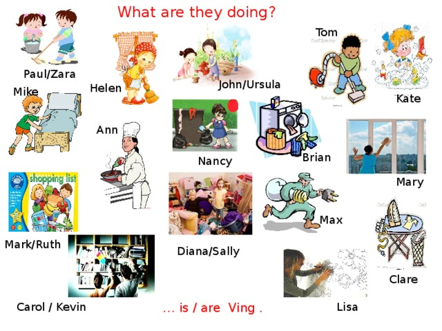 What are they doing? Tom Paul/Zara John/Ursula Helen Mike Kate Ann Brian Nancy Mary Max Mark/Ruth Diana/Sally Clare Lisa Carol / Kevin … is / are Ving .