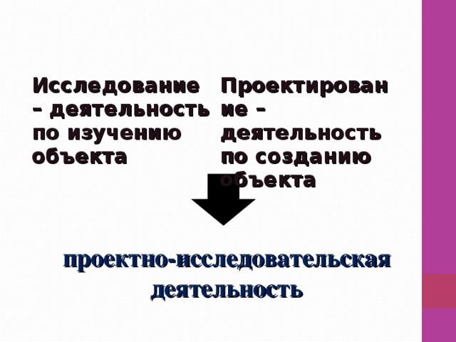 проектно-исследовательская деятельность Исследование – деятельность по изучению объекта  Проектирование – деятельность по созданию объекта