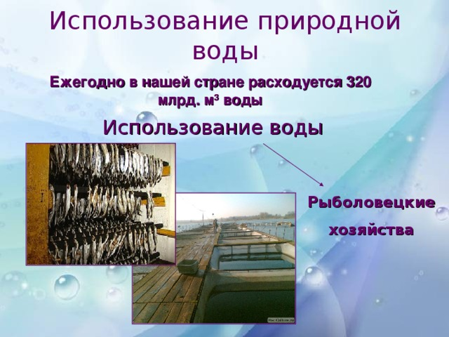 Использование природной воды Ежегодно в нашей стране расходуется 320 млрд. м 3 воды Использование воды Рыболовецкие хозяйства