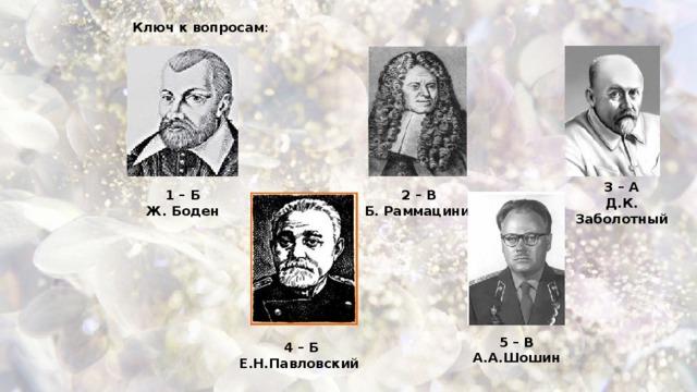 Ключ к вопросам : 3 – А Д.К. Заболотный 1 – Б 2 – В Ж. Боден Б. Раммацини 5 – В А.А.Шошин 4 – Б Е.Н.Павловский