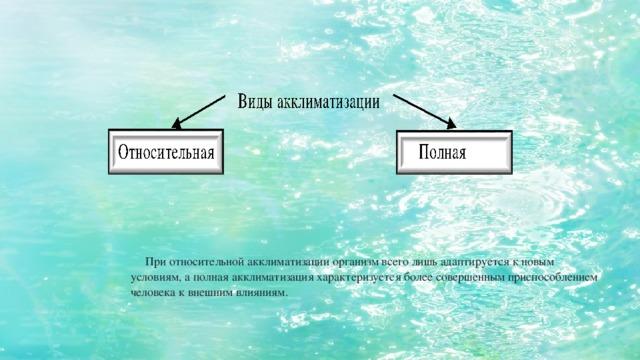 При относительной акклиматизации организм всего лишь адаптируется к новым условиям, а полная акклиматизация характеризуется более совершенным приспособлением человека к внешним влияниям.