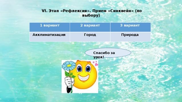 VI. Этап «Рефлексия». Прием «Синквейн» (по выбору) 1 вариант 2 вариант Акклиматизация 3 вариант Город  Природа  Спасибо за урок!