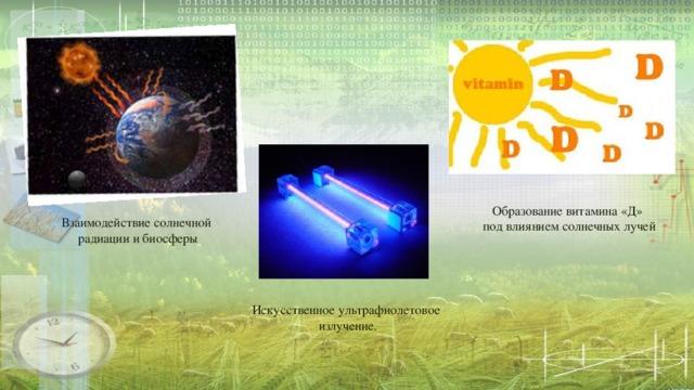 Образование витамина «Д» под влиянием солнечных лучей Взаимодействие солнечной радиации и биосферы Искусственное ультрафиолетовое излучение.