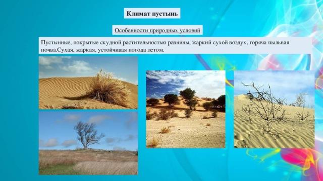 Климат пустынь Особенности природных условий Пустынные, покрытые скудной растительностью равнины, жаркий сухой воздух, горяча пыльная почва.Сухая, жаркая, устойчивая погода летом.