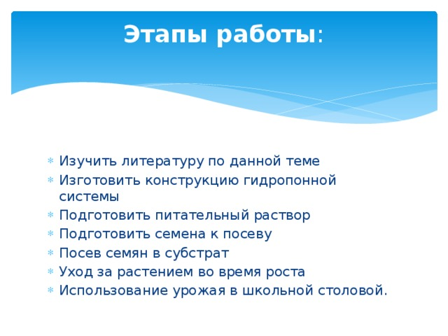 Этапы работы :
