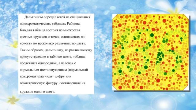 Дальтонизм определяется на специальных полихроматических таблицах Рабкина. Каждая таблица состоит из множества цветных кружков и точек, одинаковых по яркости но несколько различных по цвету. Таким образом, дальтонику, не различающему присутствующие в таблице цвета, таблица предстанет однородной, а человек с нормальным цветоощущением (нормальный трихромат) разглядит цифру или геометрическую фигуру, составленные из кружков одного цвета.