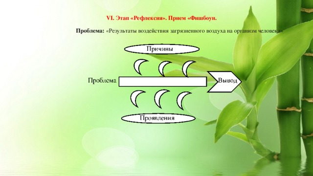 VI. Этап «Рефлексия». Прием «Фишбоун.   Проблема: «Результаты воздействия загрязненного воздуха на организм человека»