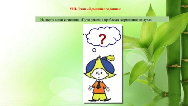 VIII. Этап «Домашнее задание»:  Написать мини-сочинение «Пути решения проблемы загрязнения воздуха»