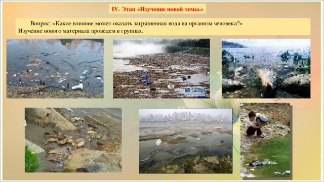 IV. Этап «Изучение новой темы.» Вопрос:«Какое влияние может оказать загрязненная вода на организм человека?» Изучение нового материала проведем в группах.