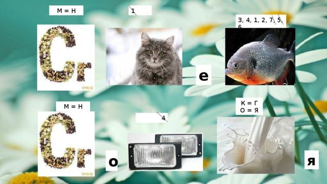 М = Н 1 3, 4, 1, 2, 7, 5, 6 е К = Г О = Я М = Н 4 я о