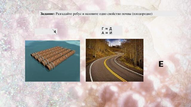 Задание: Разгадайте ребус и назовите одно свойство почвы (плодородие) Г = Д А = И 4 Е