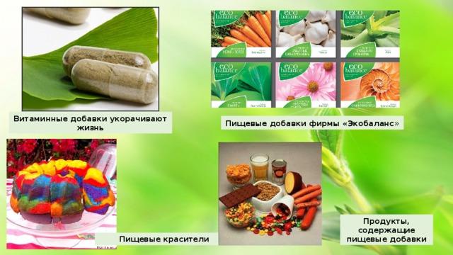 Витаминные добавки укорачивают жизнь Пищевые добавки фирмы «Экобаланс » Продукты, содержащие пищевые добавки Пищевые красители
