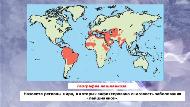 География лешманиоза Назовите регионы мира, в которых зафиксировано очаговость заболевания «лейшманиоз».