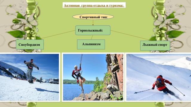 Активная группа отдыха и туризма: Спортивный тип :  Горнолыжный: Альпинизм Лыжный спорт Сноубордизм