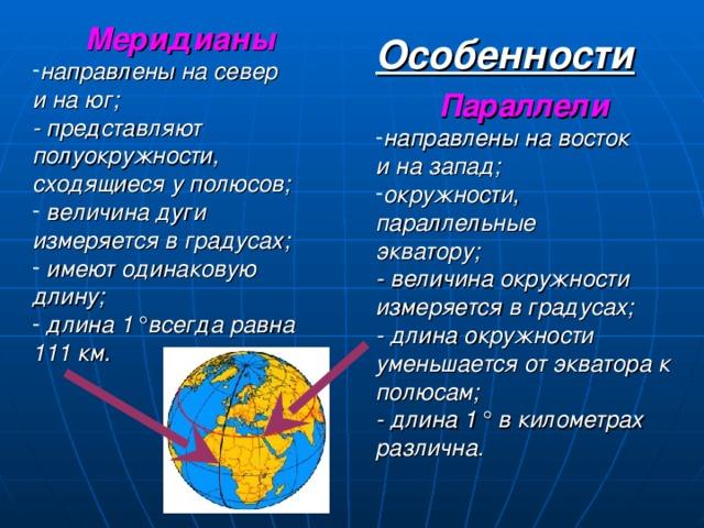 Меридианы направлены на север и на юг; - представляют полуокружности, сходящиеся у полюсов;  величина дуги измеряется в градусах;  имеют одинаковую длину;  длина 1 ° всегда равна 111 км.  Особенности Параллели направлены на восток и на запад; окружности, параллельные экватору; - величина окружности измеряется в градусах; - длина окружности уменьшается от экватора к полюсам; - длина 1 ° в километрах различна.