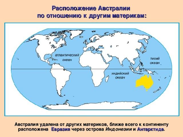 Расположение Австралии по отношению к другим материкам: Австралия удалена от других материков, ближе всего к континенту расположена Евразия через острова Индонезии и Антарктида .