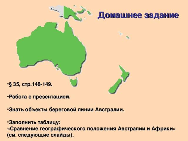 Домашнее задание § 35, стр.148-149.  Работа с презентацией.  Знать объекты береговой линии Австралии.  Заполнить таблицу: «Сравнение географического положения Австралии и Африки» (см. следующие слайды).