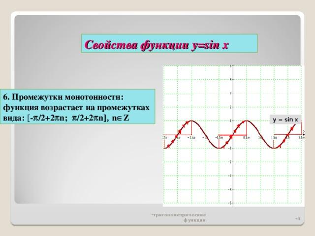 Свойства функции у= sin x 6. Промежутки монотонности: функция возрастает на промежутках вида:  -  /2 +2  n ;   / 2+2  n   n  Z y = sin x