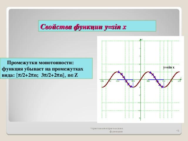 Свойства функции у= sin x  Промежутки монотонности: функция убывает на промежутках вида:  /2 +2  n ;  3  / 2+2  n   n  Z y=sin x