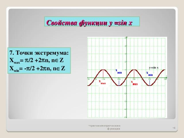 Свойства функции у = sin x 7. Точки экстремума: Х мах =   / 2 +2  n , n  Z Х м in = -  / 2 +2  n , n  Z y=sin x