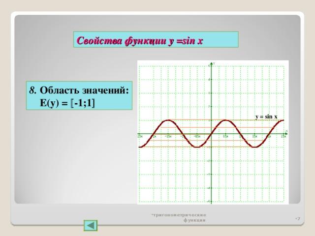 Свойства функции у = sin x 8 . Область значений:  Е(у) =  -1;1  y = sin x