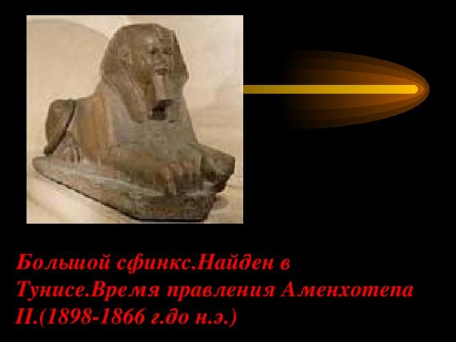 Большой сфинкс.Найден в Тунисе.Время правления Аменхотепа II.(1898-1866 г.до н.э.)
