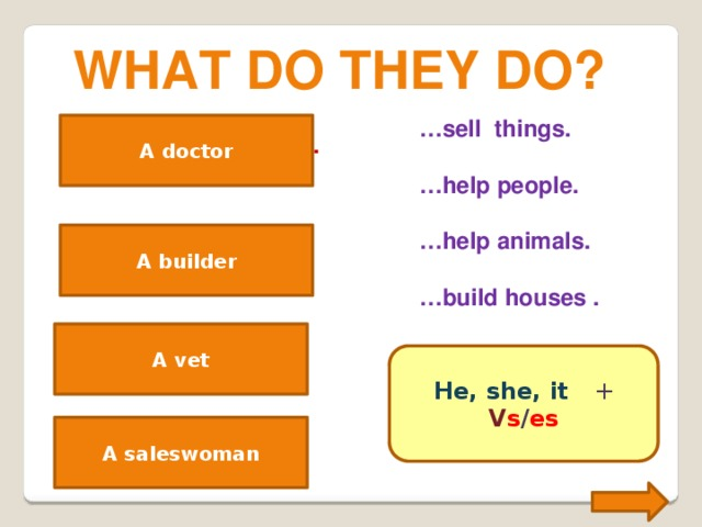 What do they do? … sell things.  … help people.  … help animals.  … build houses . A doctor A doctor helps people. A builder A builder builds houses. A vet helps animals. A vet He, she, it +  V s / es A saleswoman A saleswoman sells things.