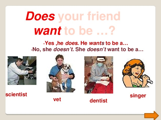 Does your friend want to be …? - Yes ,he does . He want s to be a… - No, she doesn't. She doesn't want to be a… scientist singer vet dentist