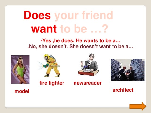 Does your friend want to be …? -Yes ,he does. He wants to be a… - No, she doesn't. She doesn't want to be a… fire fighter newsreader architect model