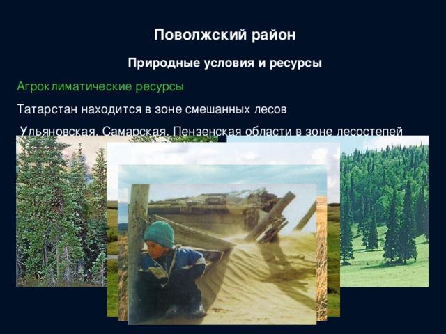 Поволжский район Природные условия и ресурсы Агроклиматические ресурсы Татарстан находится в зоне смешанных лесов  Ульяновская, Самарская, Пензенская области в зоне лесостепей Саратовская, Волгоградская области в степной зоне Астраханская область и Калмыкия в зоне полупустынь и пустынь На долю района приходится 1/5 сельскохозяйственных угодий и ¼ пастбищ России