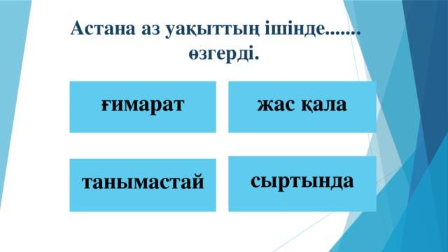 Астана аз уақыттың ішінде....... өзгерді. ғимарат жас қала сыртында  танымастай