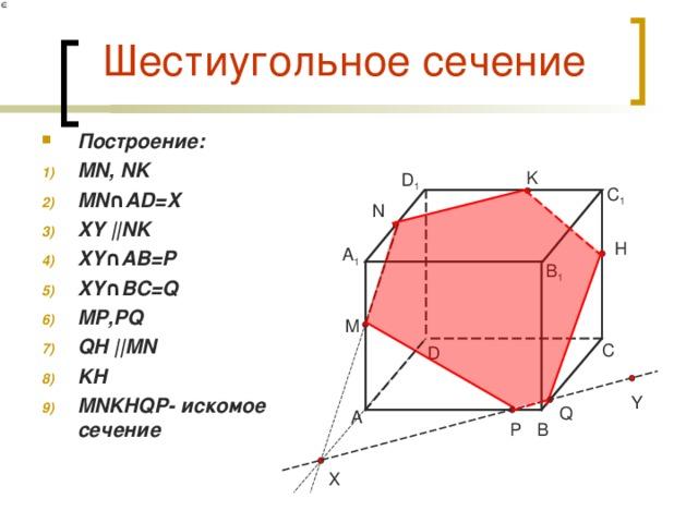 Шестиугольное сечение Построение: MN, NK MN ∩AD=X XY || NK XY ∩AB= P XY ∩BC=Q MP,PQ QH || MN KH MNKHQP- искомое сечение   K D 1 C 1 N H A 1 B 1 M C D Y Q A B P X