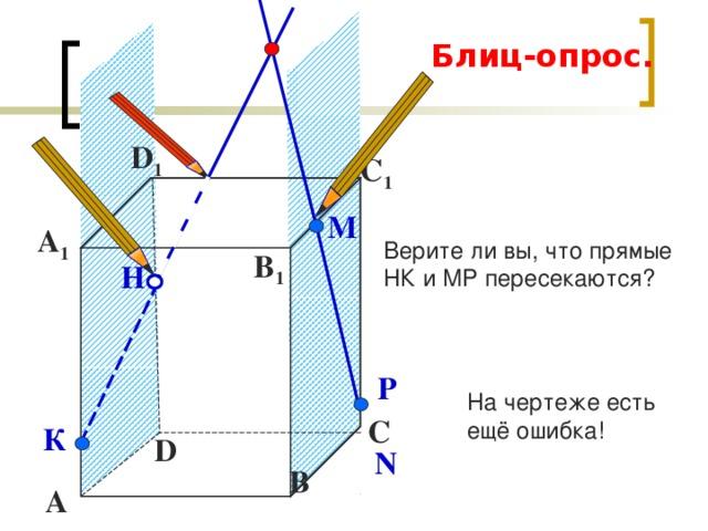 Блиц-опрос. D 1 С 1 М Верите ли вы, что прямые НК и МР пересекаются? А 1 B 1 Н Р На чертеже есть ещё ошибка! С К D N В А