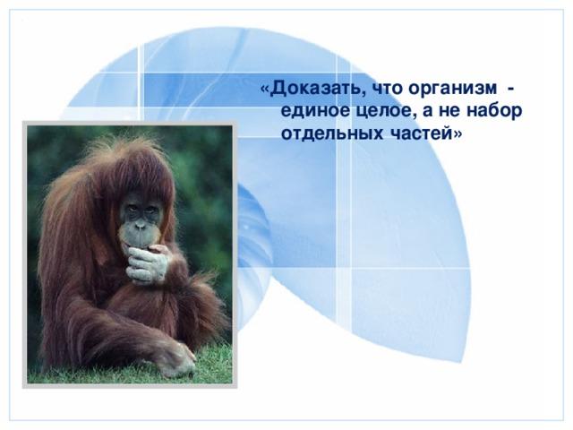«Доказать, что организм - единое целое, а не набор отдельных частей»