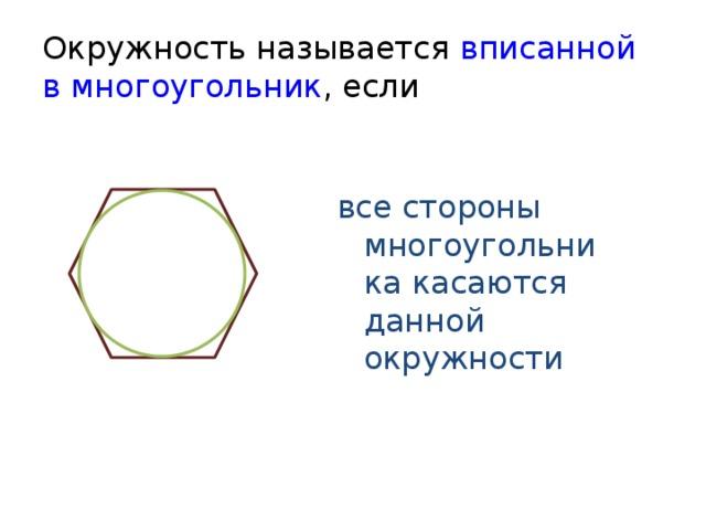 Окружность называется вписанной в многоугольник , если все стороны многоугольника касаются данной окружности