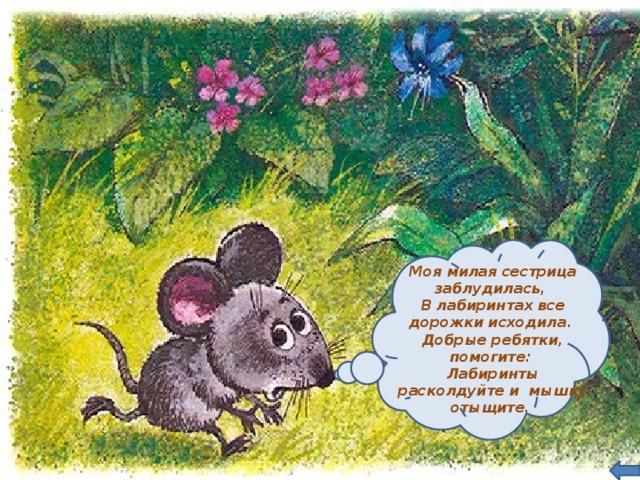 Моя милая сестрица заблудилась, В лабиринтах все дорожки исходила. Добрые ребятки, помогите: Лабиринты расколдуйте и мышку отыщите.