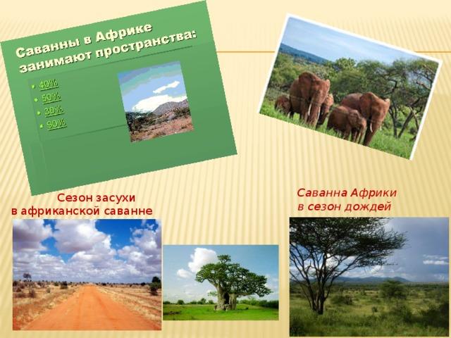 Саванна Африки в сезон дождей  Сезон засухи  в африканской саванне