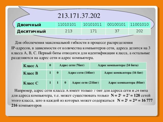 Для обеспечения максимальной гибкости в процессе распределения IP-адресов, в зависимости от количества компьютеров сети, адреса делятся на 3 класса А, В, С. Первый биты отводятся для идентификации класса, а остальные разделяются на адрес сети и адрес компьютера.  Например, адрес сети класса А имеет только 7 бит для адреса сети и 24 бита для адреса компьютера, т.е. может существовать только N = 2 I = 2 7 = 128 сетей этого класса, зато в каждой из которых может содержаться N = 2 I = 2 24 = 16 777 216 компьютеров  213.171.37.202 Двоичный Десятичный 11010101 213 10101011 171 00100101 37 11001010 202 Класс А Класс В 0 1 Адрес сети (7бит) Класс С 0 1 Адрес сети (14бит) 1 0  Адрес компьютера (24 бита)  Адрес сети (21бит) Адрес компьютера (16 бит)   Адрес компьютера (8бит)
