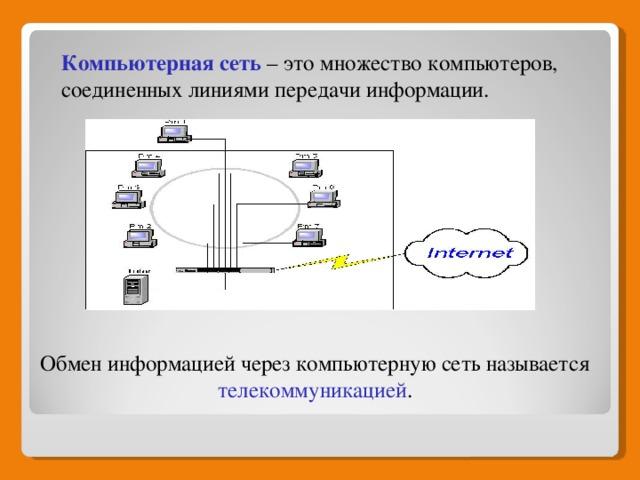 Компьютерная сеть  – это множество компьютеров, соединенных линиями передачи информации. Обмен информацией через компьютерную сеть называется телекоммуникацией .