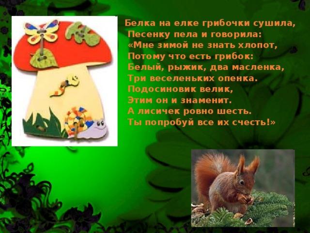 Белка на елке грибочки сушила,  Песенку пела и говорила:  «Мне зимой не знать хлопот,  Потому что есть грибок:  Белый, рыжик, два масленка,  Три веселеньких опенка.  Подосиновик велик,  Этим он и знаменит.  А лисичек ровно шесть.  Ты попробуй все их счесть!»