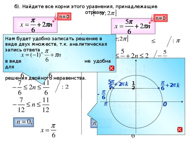 б). Найдите все корни этого уравнения, принадлежащие  отрезку n=0 n=0 Нам будет удобно записать решение в виде двух множеств, т.к. аналитическая запись ответа в виде не удобна для решения двойного неравенства.  p 5 p k 1 p  +2 k  p  +2 6 2 6 p - 6 p 0 