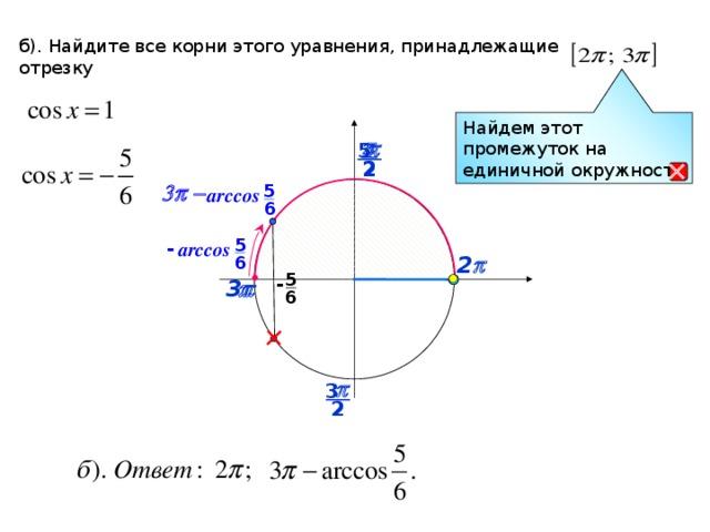 б). Найдите все корни этого уравнения, принадлежащие отрезку Найдем этот промежуток на единичной окружности p p 5  2 2 5 3p -  arccos 6 5 - arccos 6 2 p 5 - p 3 p 6 p 3 2