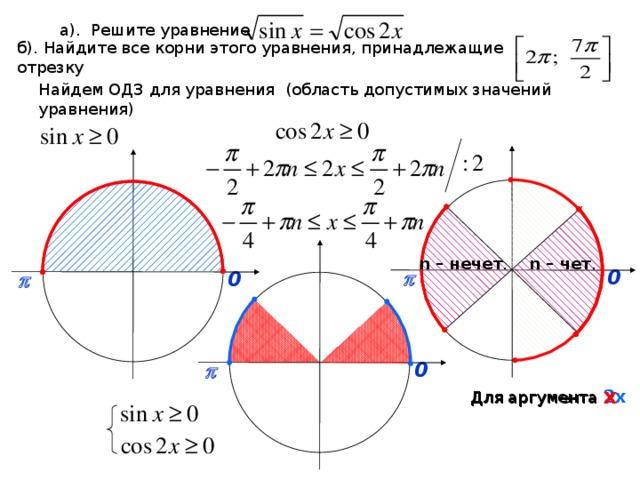 а). Решите уравнение б). Найдите все корни этого уравнения, принадлежащие отрезку Найдем ОДЗ для уравнения (область допустимых значений уравнения) n – чет . n – нечет . 0  p 0  p 0  p Для аргумента х Для аргумента 2х