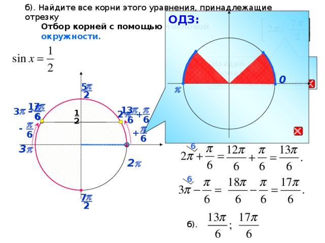 б). Найдите все корни этого уравнения, принадлежащие отрезку ОДЗ: Отбор корней с помощью числовой окружности. Найдем этот промежуток на единичной окружности  0 p 5  p 2 p p 17 p p  – p   3 13  1  p   2 + 6 6 6 2 6 p  - p + 6 6 6 3 p  2 p 6 p 7 2 б).