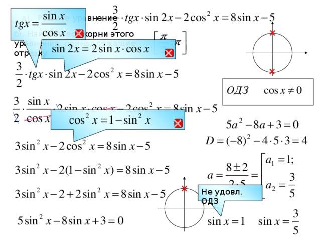 а). Решите уравнение  б). Найдите все корни этого уравнения, принадлежащие отрезку   Не удовл. ОДЗ