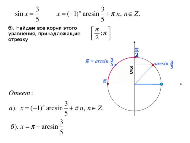 б). Найдем все корни этого уравнения, принадлежащие отрезку p 2 – 3 p  arcsin 3 arcsin 5 5 3 5 p