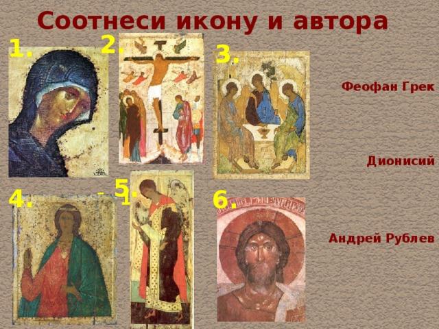 Соотнеси икону и автора 2. 1. 3. Феофан Грек  Дионисий 1. 1. Андрей Рублев 5. 4. 6.