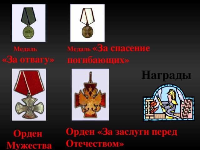 Медаль «За спасение погибающих»  Медаль «За отвагу»  Награды Орден «За заслуги перед Отечеством» Орден Мужества